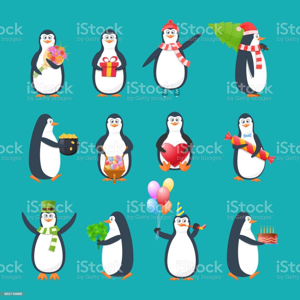 Gesetzt Sammlung Schone Lustige Antarktische Vogel Pinguine In