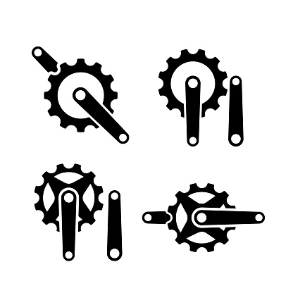 set collection crank creek cycle creative sport bike with initial letter c vector logo icon illustration design isolated background