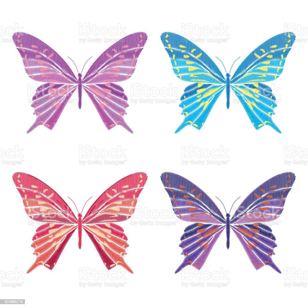 Set Colección De Mariposas Aisladas Sobre Fondo Blanco Ilustración ...