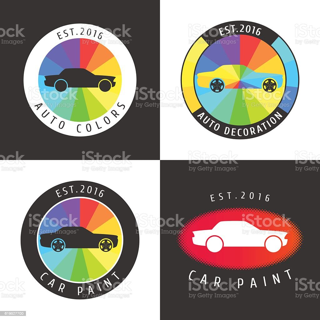Set Collection Of Car Paint Car Parts Vector Icon Symbol Stock