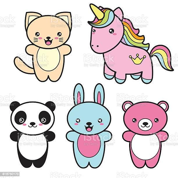 Set collection of cute kawaii style happy smiling animals vector id618750170?b=1&k=6&m=618750170&s=612x612&h=teql5hwvbus 94dpeihnjlaomjc6pzzhqsyrzmfypg0=