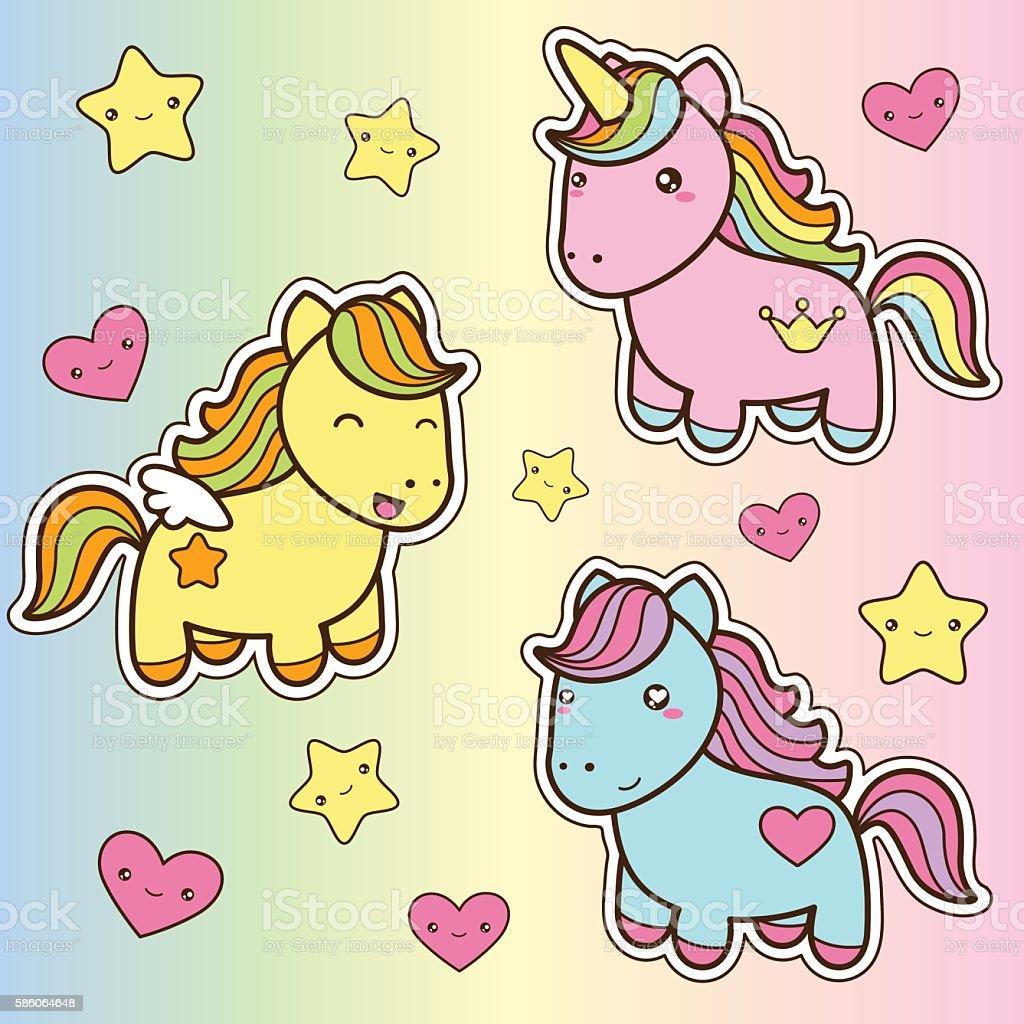 Set collection of cute kawaii style horses. vector art illustration