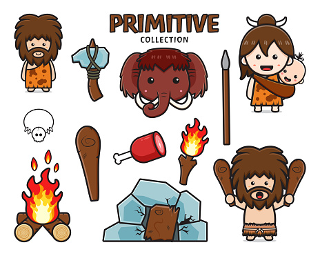 Set collection of cute primitive caveman cartoon icon clipart illustration