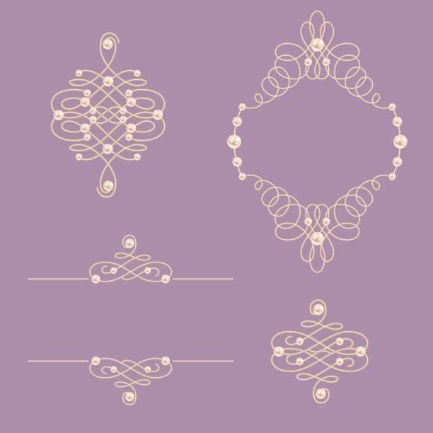 sammlung von eleganten goldenen knoten rahmen, schilder, teiler auf lila hintergrund gesetzt. - perlenweben stock-grafiken, -clipart, -cartoons und -symbole