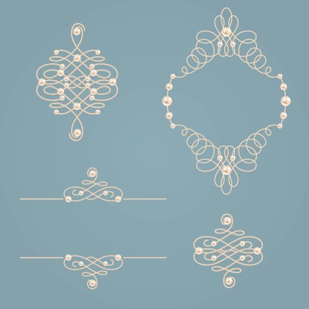 sammlung von eleganten goldenen knoten rahmen, schilder, teiler auf vintage grau-blauen hintergrund gesetzt. - perlenweben stock-grafiken, -clipart, -cartoons und -symbole
