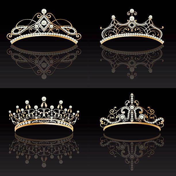 illustrations, cliparts, dessins animés et icônes de set collection of four golden with pearls feminine tiaras - diademe