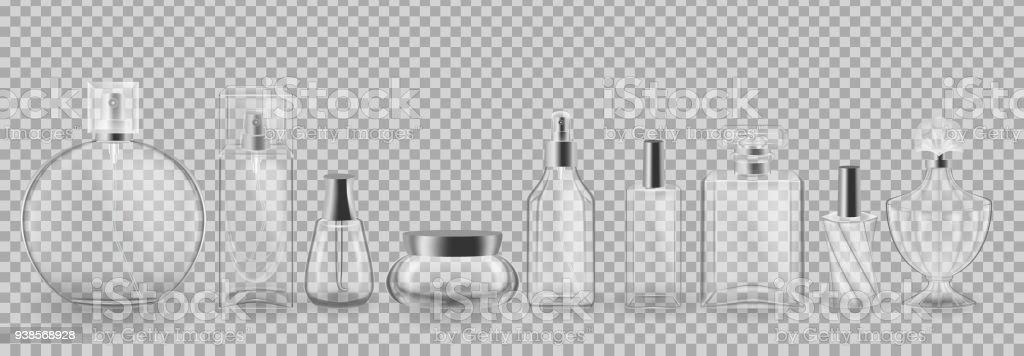 Conjunto, coleção de embalagens de cosméticos de vidro. Realista mock-up, modelos - ilustração de arte em vetor