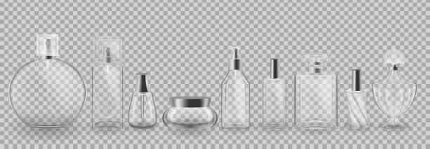illustrazioni stock, clip art, cartoni animati e icone di tendenza di set, collection of glass cosmetic packages. realistic mock-up, templates - profumi spray