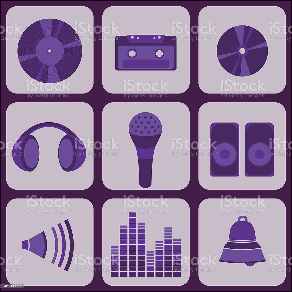 set collection of nine purple music icons royalty-free stock vector art