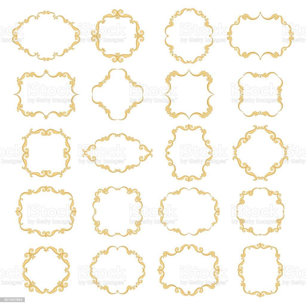 Set collection of ornamental vintage frames Lizenzfreies set collection of ornamental vintage frames stock vektor art und mehr bilder von balkengerüst
