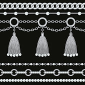 Set collection of silver metallic chain borders with gemstones and tassels. On black. Vector illustration.