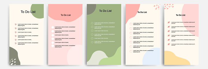 Set collection of to do check list blank daily or weekly planner. Suitable for print and web, social media story stories banner, diary, notebook template layout with fluid wave brush shape