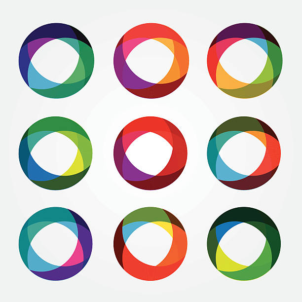 set collection of trendy multicolored overlapping transparent circle shaped icons set collection of trendy multicolored overlapping transparent circle shaped design elements multi layered effect stock illustrations
