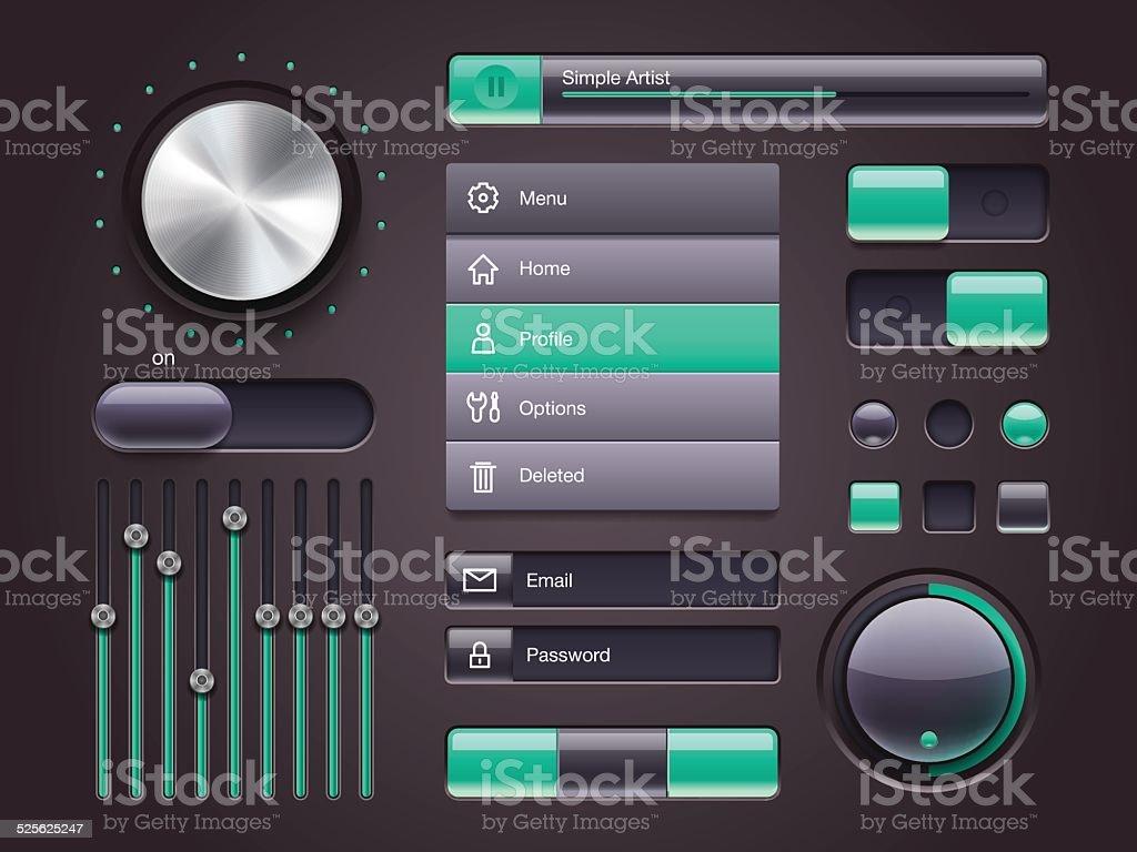 Set collection of UI web elements vector art illustration