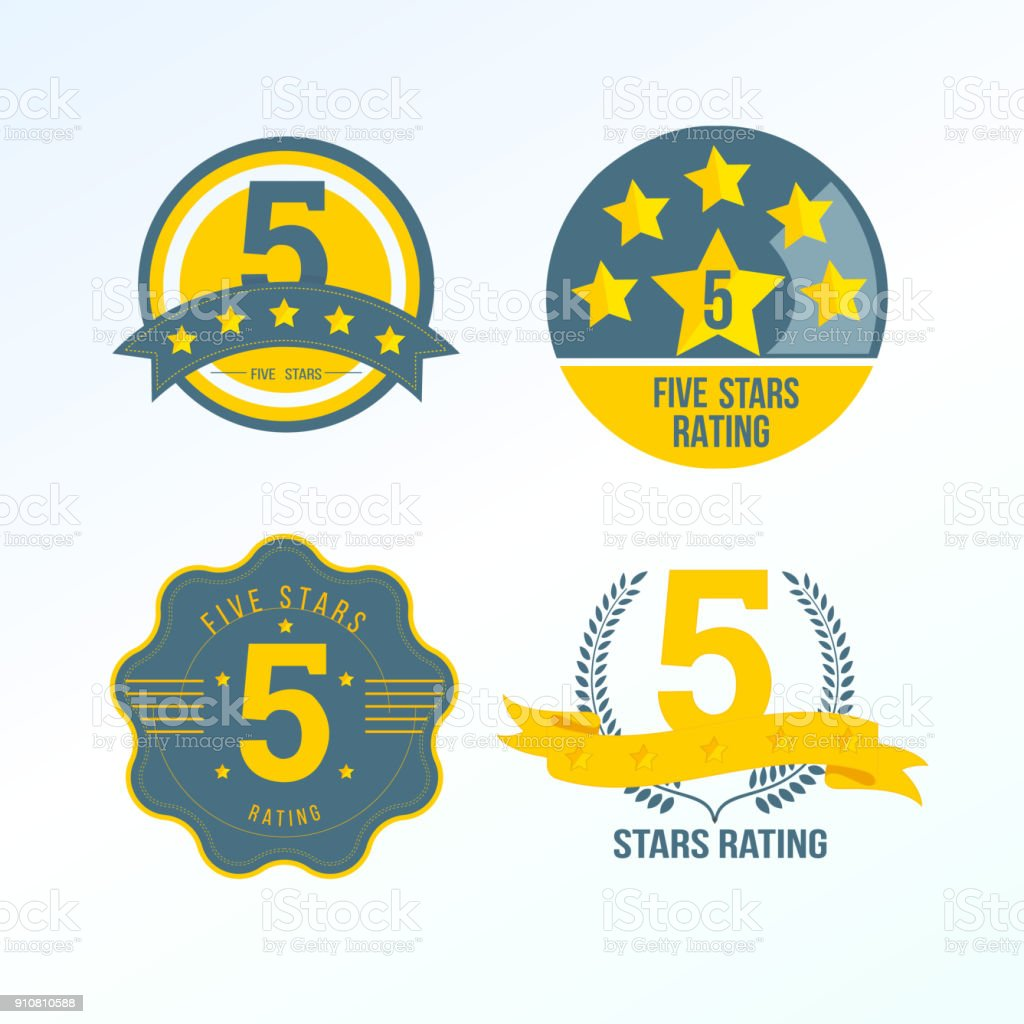 Set, collection of various design elements in form of rating