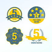 Set, collection of various design elements in the form of a rating. Rating and reviews with five stars, forms for ranking the interface, characters from zero to five stars. Vector illustration.