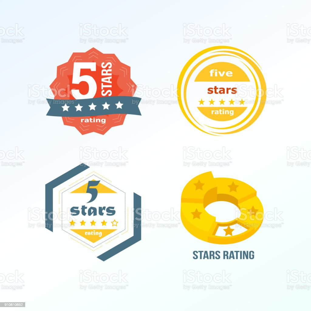 Set, collection of various design elements in form of rating vector art illustration