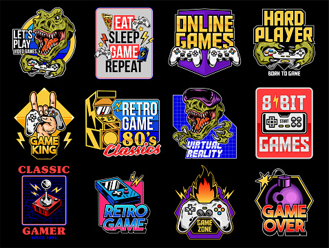 Set collection of video game geek prints