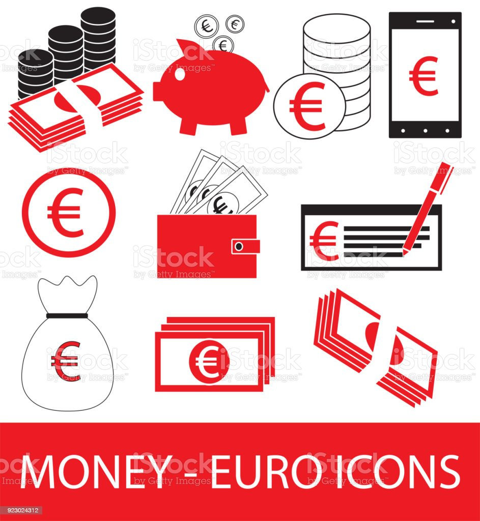 Set Collection Or Pack Of Euro Currency Icon Or Symbol Vector Stock