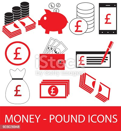 Set Collection Or Pack Of Pound Currency Icon Or Symbol Stock Vector