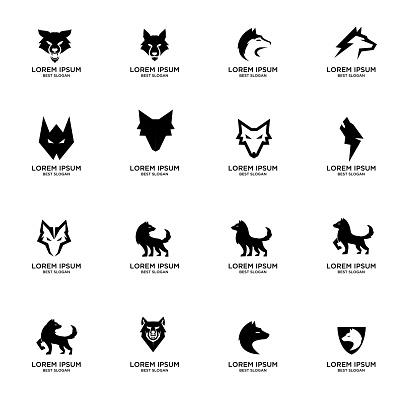 set collection wolf logo icon design vector illustration