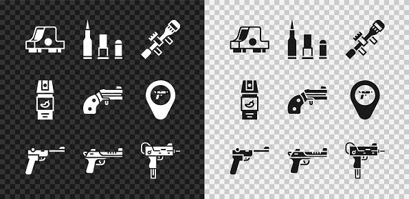 Set Collimator sight, Bullet, Sniper optical, Mauser gun, Desert eagle, UZI submachine, Pepper spray and Small revolver icon. Vector