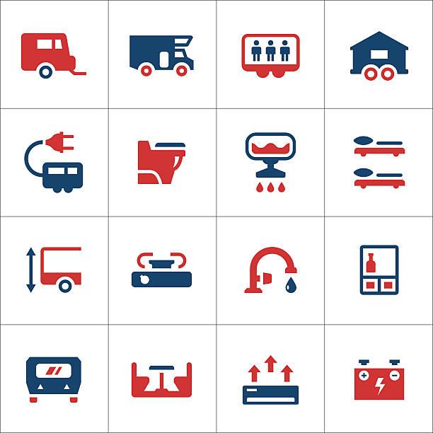Set color icons of camper, caravan, trailer Set color icons of camper, caravan, trailer isolated on white. This illustration - EPS10 vector file. rv interior stock illustrations