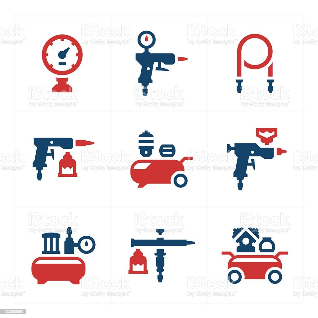 Set color icons of compressor and accessories vector art illustration