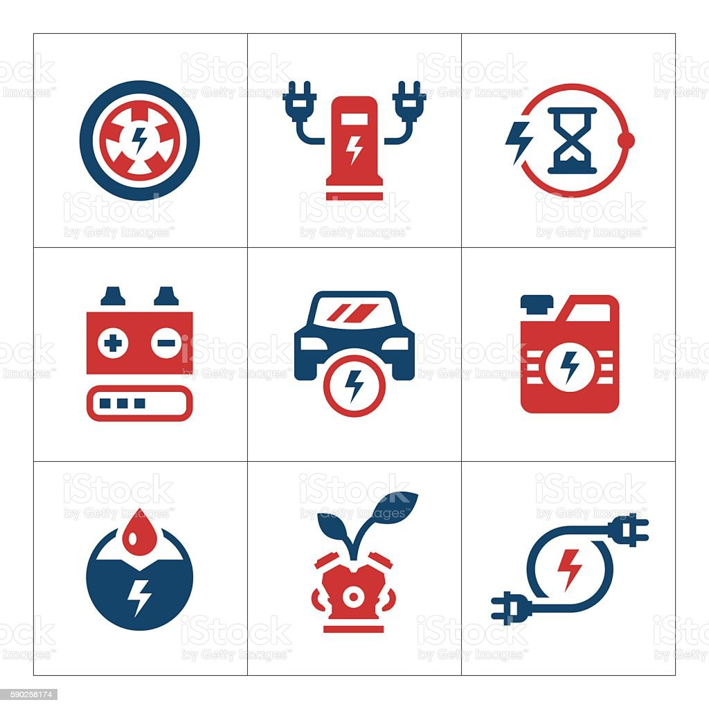 Set color icons of electric car vector art illustration
