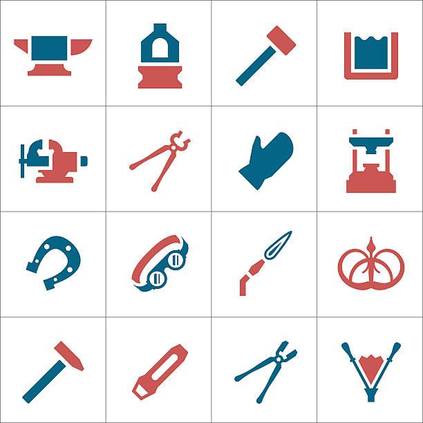 illustrations, cliparts, dessins animés et icônes de set icônes de couleur de la forge - alliage