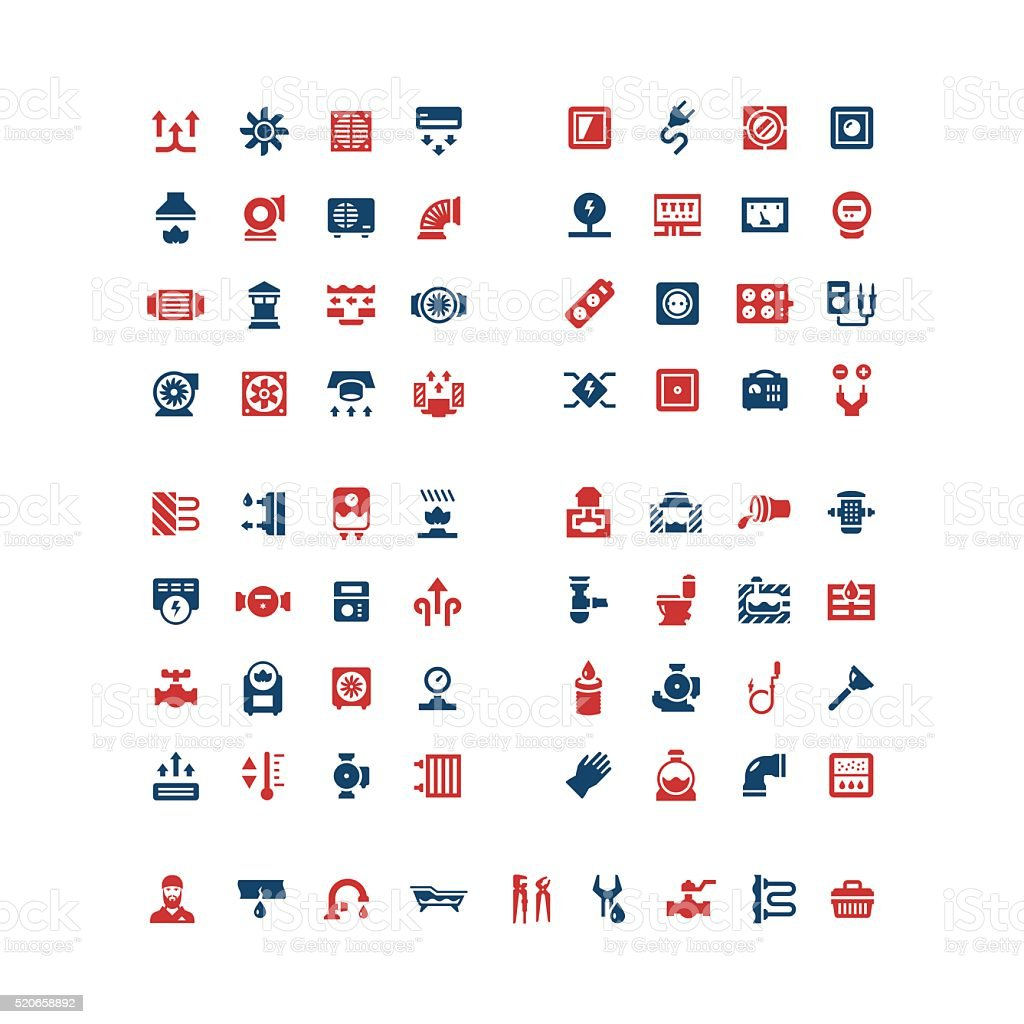 Set color icons of house system vector art illustration