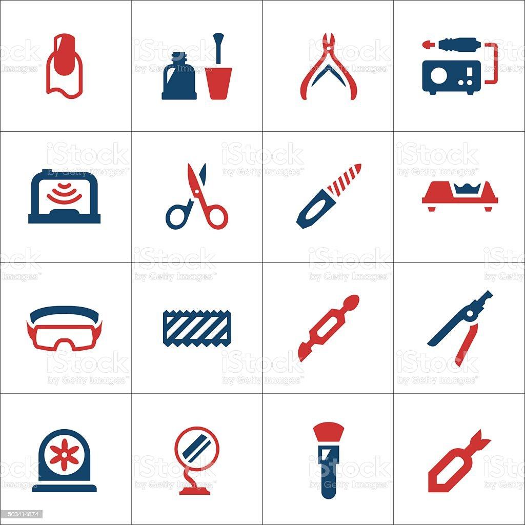 Conjunto de ícones de cores de manicure - ilustração de arte em vetor