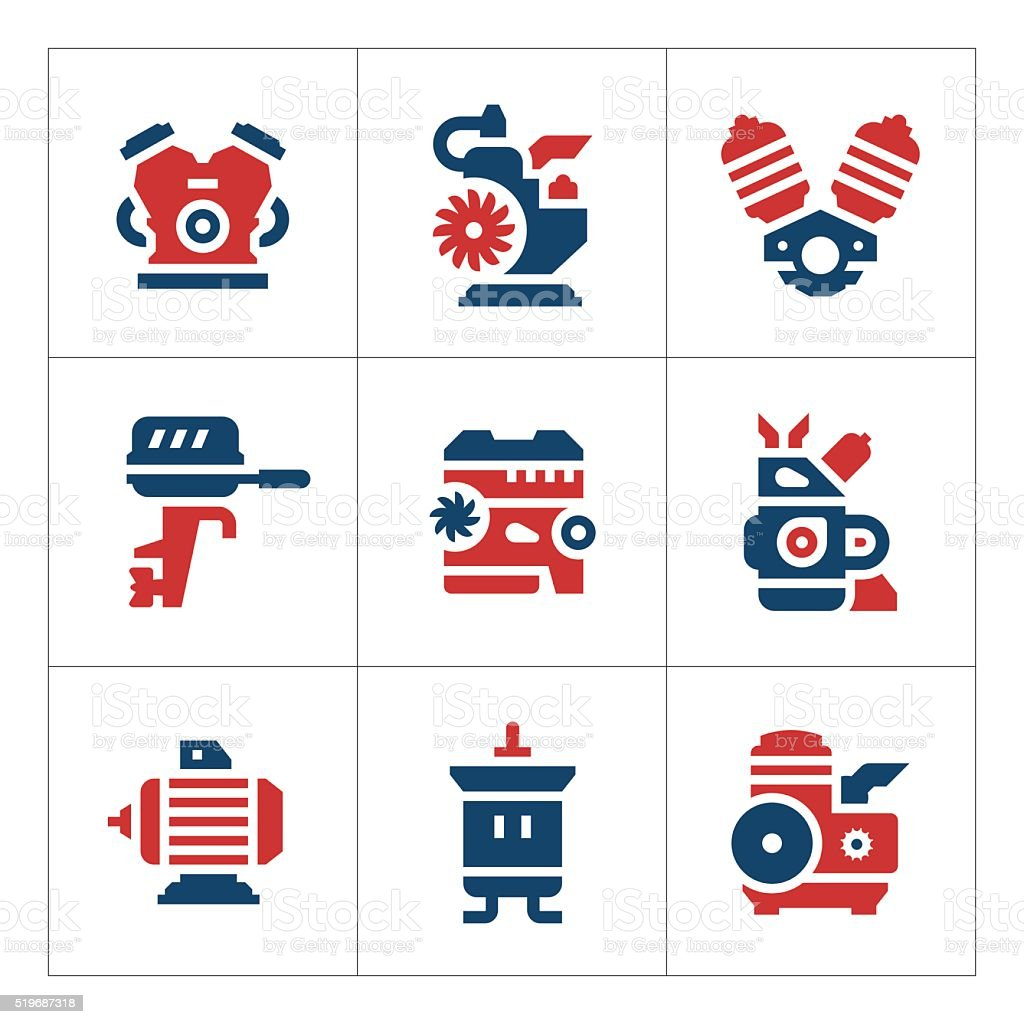 Set color icons of motor and engine vector art illustration