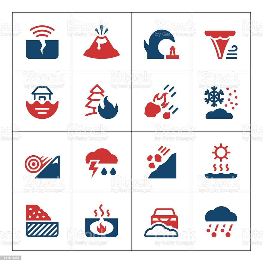 Set color icons of natural disaster vector art illustration