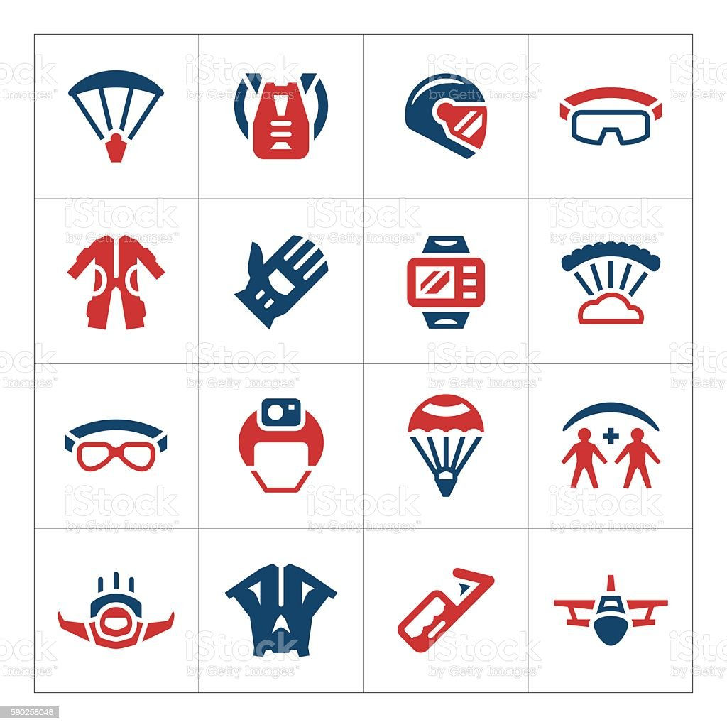 Set color icons of parachute vector art illustration