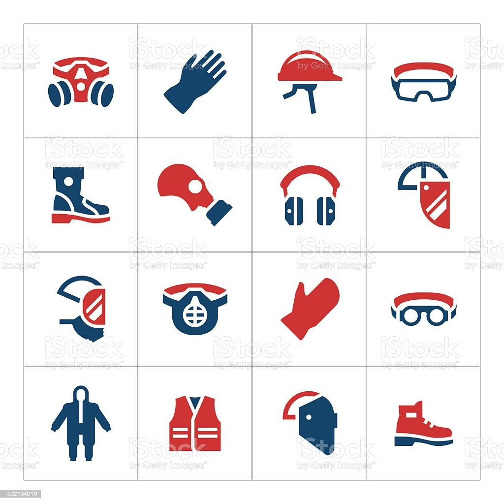 Set color icons of personal protective equipment vector art illustration
