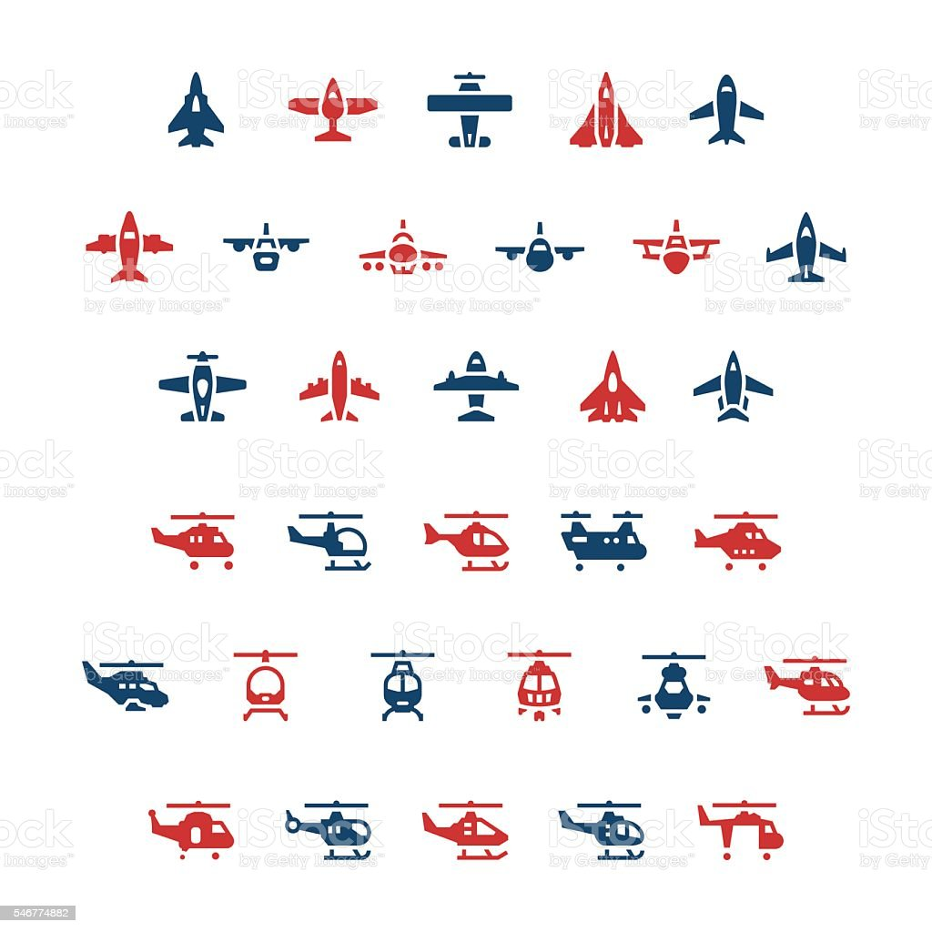 Set color icons of planes and helicopters vector art illustration