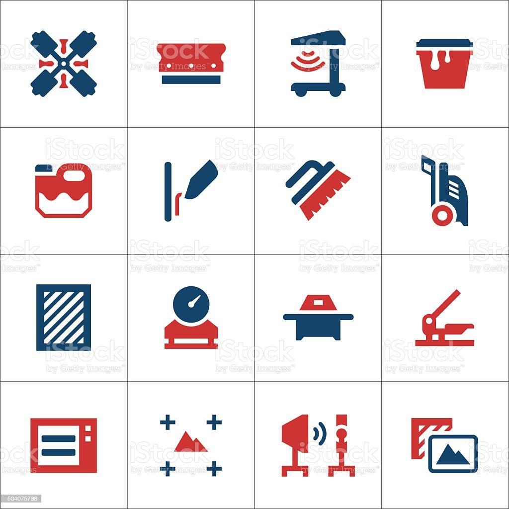 Set color icons of screen printing vector art illustration