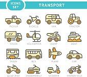Set color line icons of transport