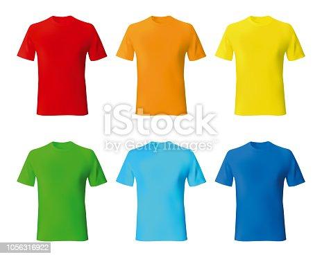 Set color male tshirt template realistic mockup. Vector illustration.