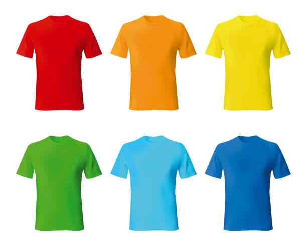 Set color male tshirt template realistic mockup Set color male tshirt template realistic mockup. Vector illustration. t shirt stock illustrations