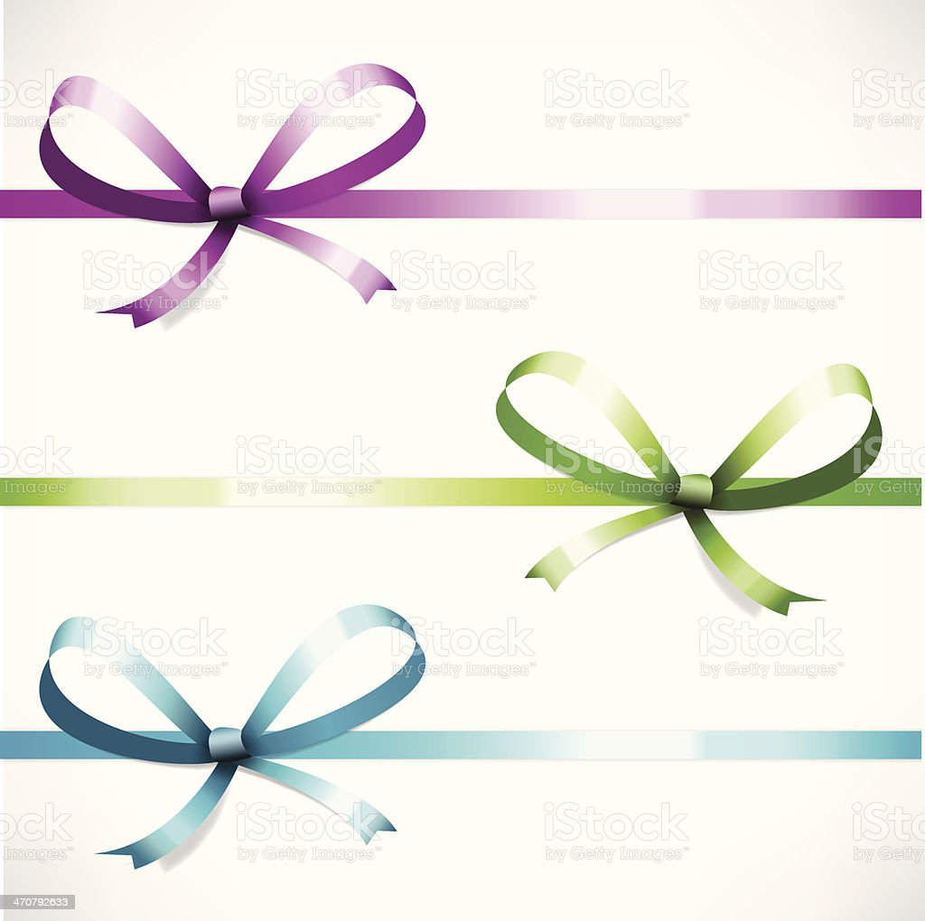 set color ribbon with bow vector vector art illustration