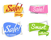 Set Flat linear Colored promotion banners. flat bubble shaped sticker, label, ribbon. Vector illustration linear style. Text - Sale end of season, 50% off, Smart collection, sale this weekend.