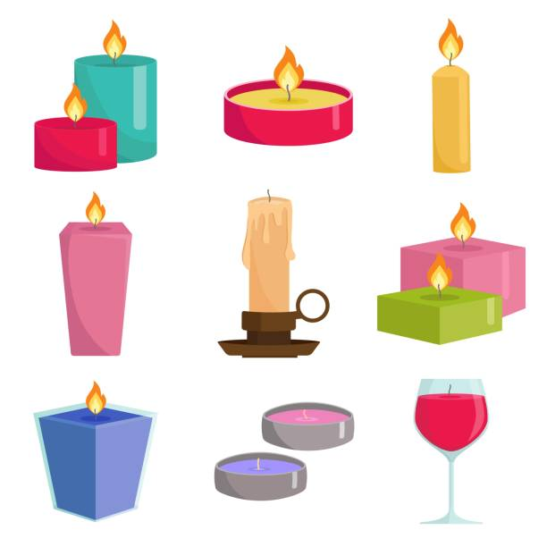 Set colorful candles isolated on white background. Aromatherapy burning candles with aromatic plant and essential oils for spa. Elements for new year, christmas cards and romantic. Vector illustration Set colorful candles isolated on white background. Aromatherapy burning candles with aromatic plant and essential oils for spa. Elements for new year, christmas cards and romantic. Vector illustration candlestick holder stock illustrations