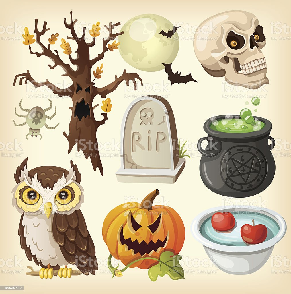 Set colorful items for the day of dead - halloween. royalty-free set colorful items for the day of dead halloween stock vector art & more images of apple - fruit