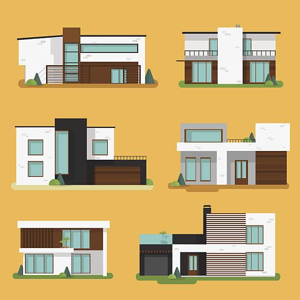 ilustraciones, imágenes clip art, dibujos animados e iconos de stock de moderno conjunto de coloridas casas residenciales. - nueva casa