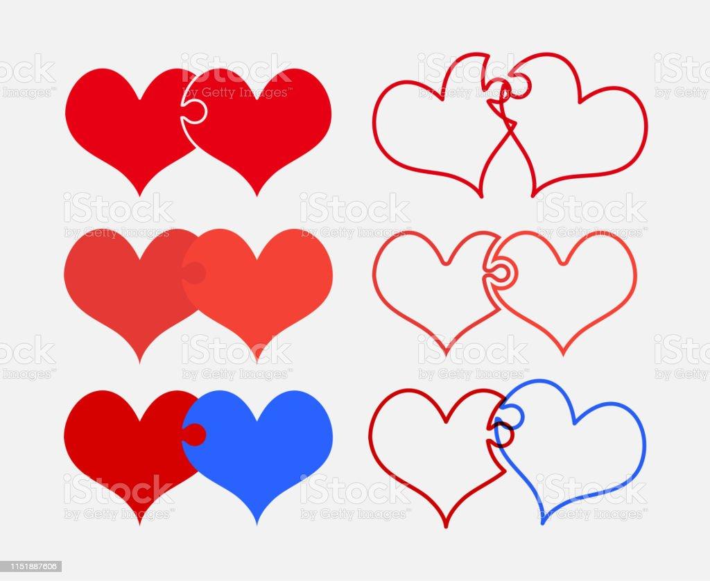Set colorful pieces puzzle of romantic hearts. Vector puzzle...