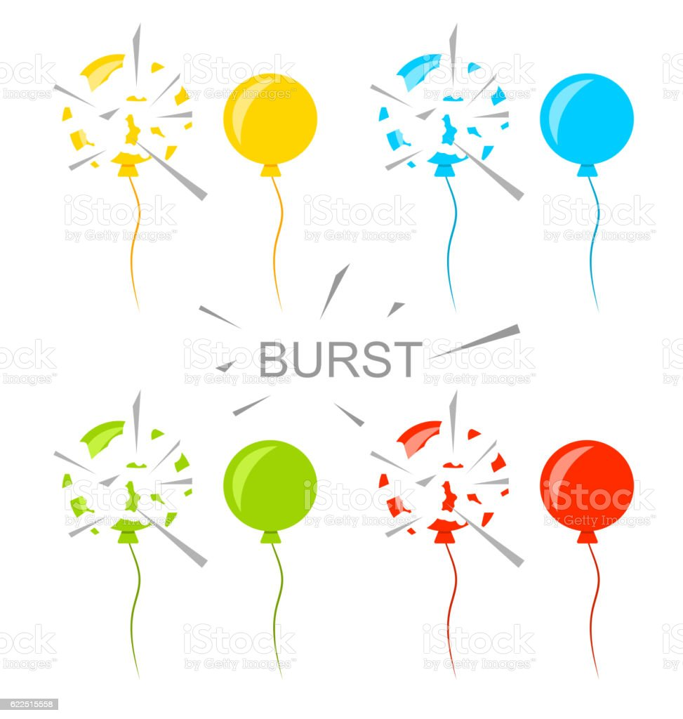Set Colorful Popped Balloons Isolated - ilustración de arte vectorial
