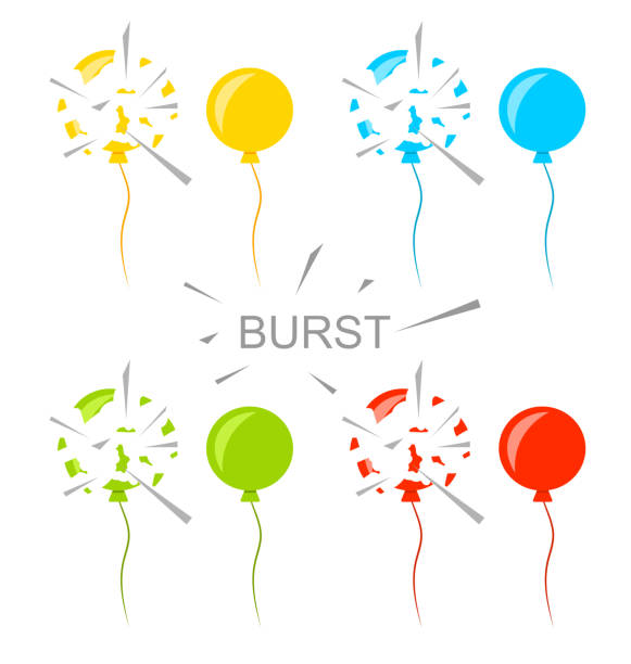 Set Colorful Popped Balloons Isolated vector art illustration