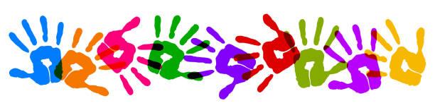 Set colorful print hands background – vector Set colorful print hands background – vector annotation stock illustrations
